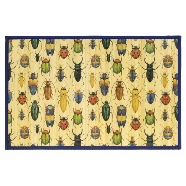 Angelique Laser Printed Split Bamboo Insects Kitchen Mat