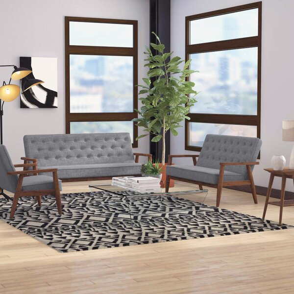 Zoee 3 Piece Wood Frame Living Room Set by Zipcode Design