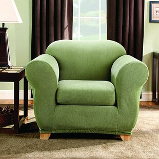 Stretch Stripe Box Cushion Armchair Slipcover
