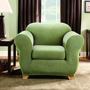 Stretch Stripe Box Cushion Armchair Slipcover