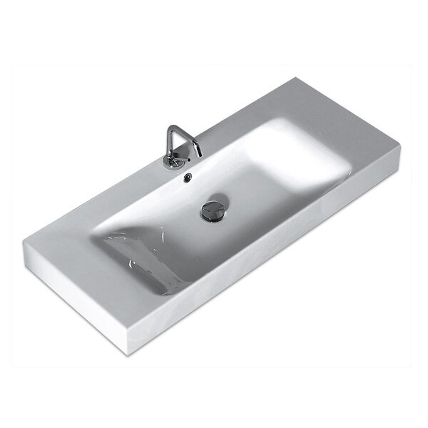 Cento Ceramic 40 Wall Mount Bathroom Sink with Overflow by WS Bath Collections