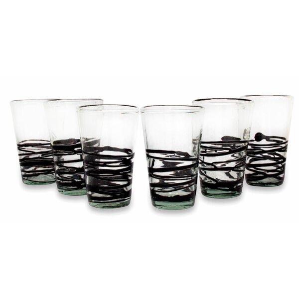 Ebony Spin 16 oz. Drinkware Set (Set of 6) by Novica