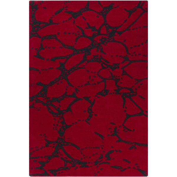Kinsella Abstract Red Area Rug by Orren Ellis