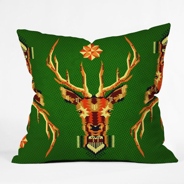 Chobopop Geometric Deer Throw Pillow by Deny Designs