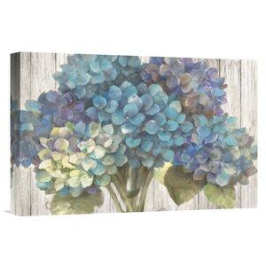 'Turquoise Hydrangea on Barn Board' Print by East Urban Home