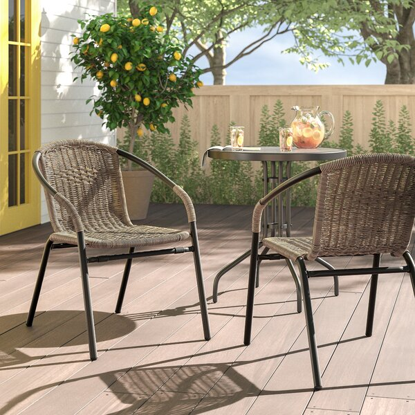 Pineville Rattan Stacking Patio Dining Chair (Set Of 2) By Zipcode Design by Zipcode Design Find