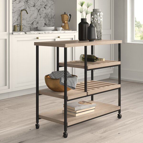 Landis Kitchen Cart with Wooden Top by Mercury Row