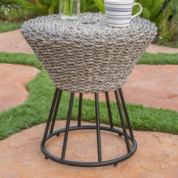 Fawnia Outdoor Wicker End Table by World Menagerie