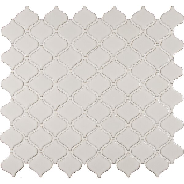Bianco Arabesque Ceramic Mosaic Tile in White by MSI