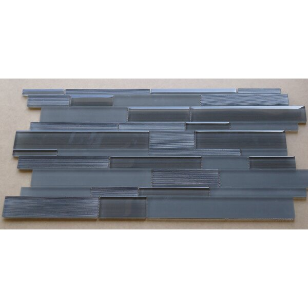 Studio Random Sized Glass Mosaic Tile in Charcoal Gray by Mulia Tile