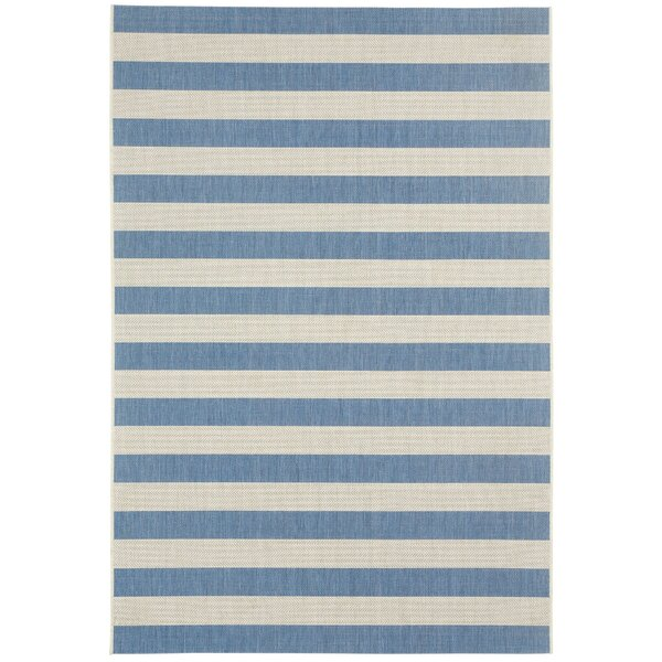 Palm Cove Blueberry Striped Outdoor Area Rug by Breakwater Bay