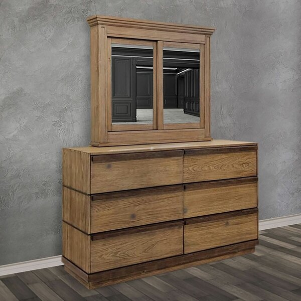 Anthea 6 Drawer Double Dresser with Mirror by Loon Peak