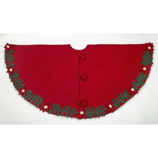 Poinsettia Wreath Hand Felted Wool Tree Skirt by Arcadia Home