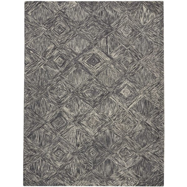 Divernon Hand-Woven Wool Charcoal Area Rug by Ivy Bronx