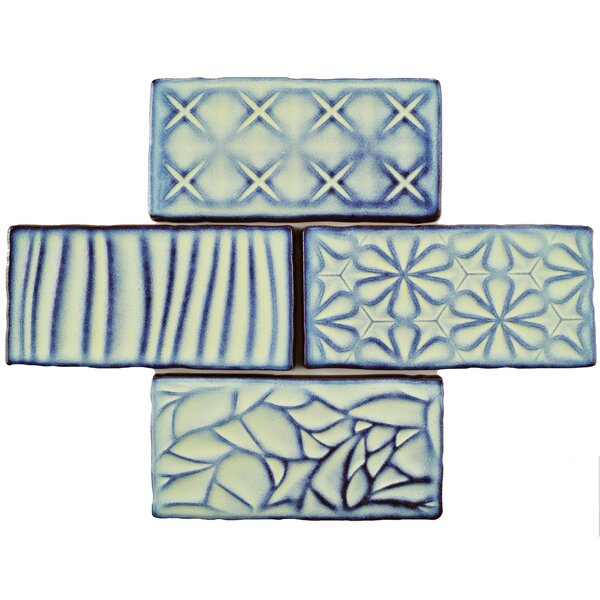 Antiqua Sensations 3 x 6 Ceramic Subway Tile in Glossy Teal/Navy by EliteTile
