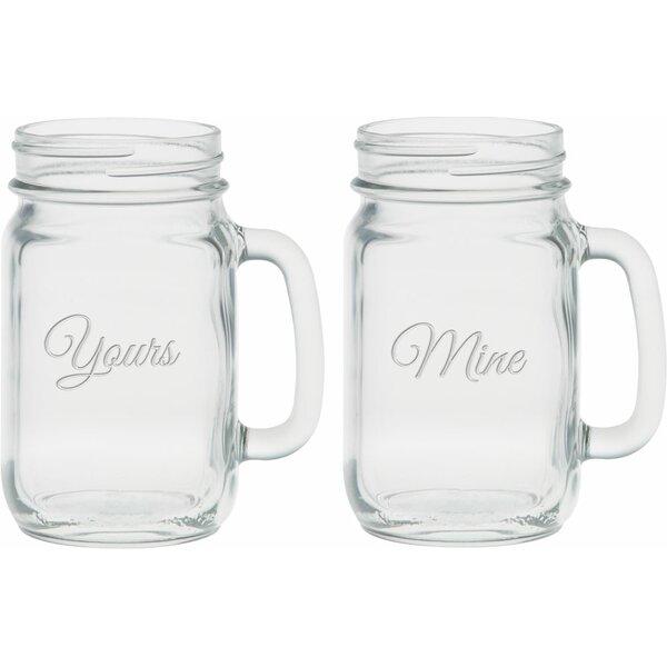Lindon Deep Etched 16 Oz. Handle Jar Glasses (Set of 2) by Winston Porter