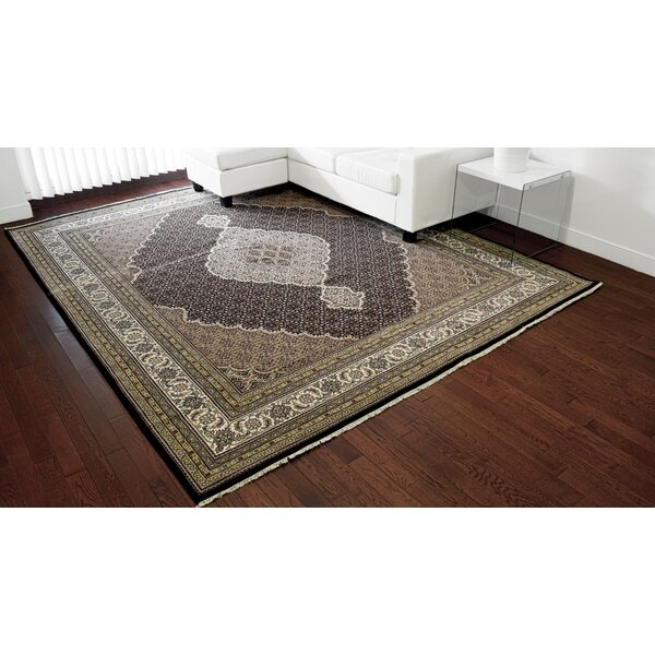 One-of-a-Kind Beaton Hand-Knotted Black Wool/Silk Area Rug by Isabelline