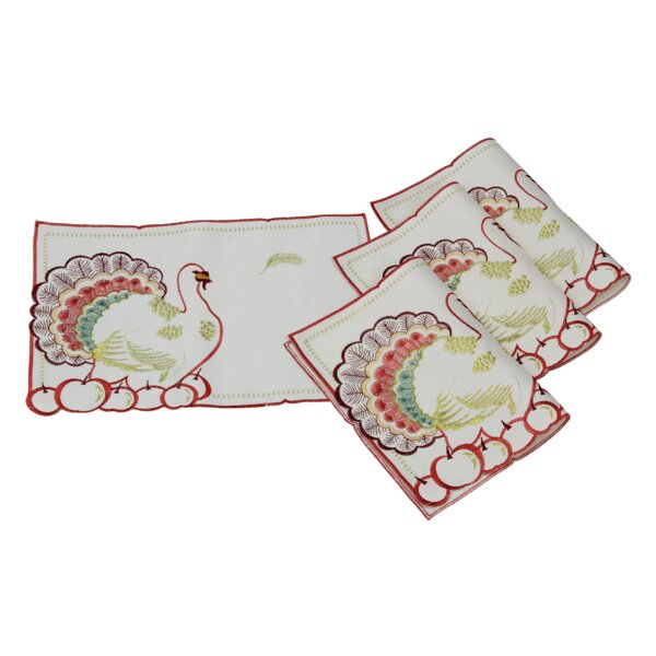 Thanksgiving Embroidered American Turkey and Cherries Placemat (Set of 4) by Violet Linen