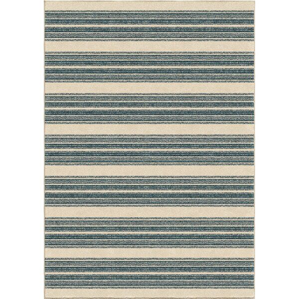 Portwood Stripe Admiral Blue/Beige Indoor/Outdoor Area Rug by Beachcrest Home