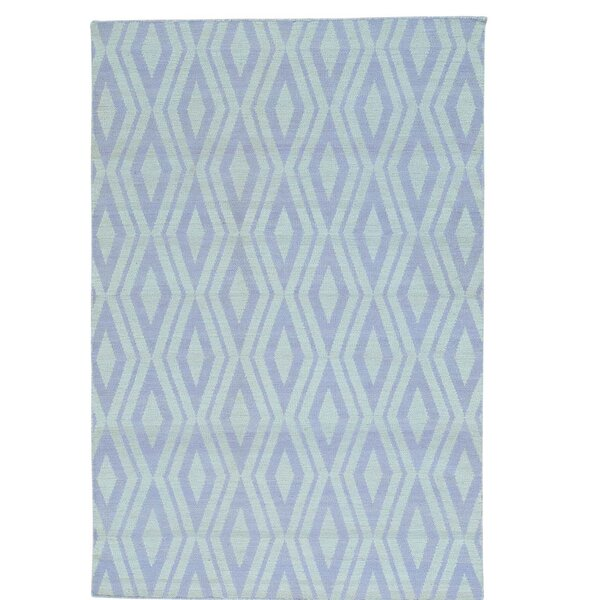 Flat Weave Reversible Kilim Hand-Knotted Ivory/Blue Area Rug by Bloomsbury Market