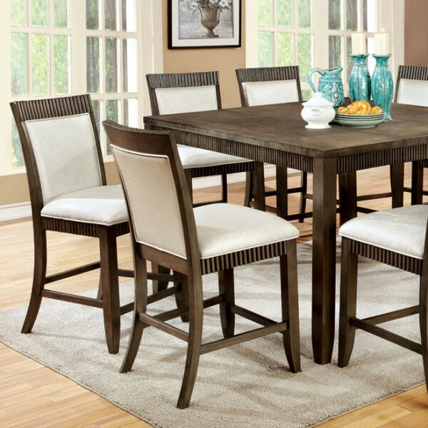 Calanthe Transitional Counter Height Solid Wood Dining Table by Gracie Oaks