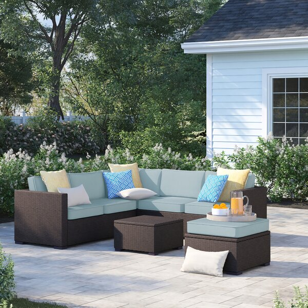 Lawson 5 Piece Rattan Sectional Set with Cushions by Birch Lane™ Heritage