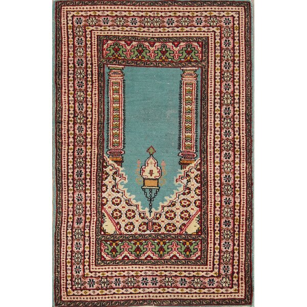 Neva Bokhara Oriental Hand-Knotted Wool Red/Black/Blue Area Rug by Bloomsbury Market