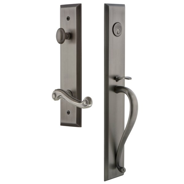 Fifth Avenue S Grip Single Cylinder Handleset with Newport Interior Lever by Grandeur