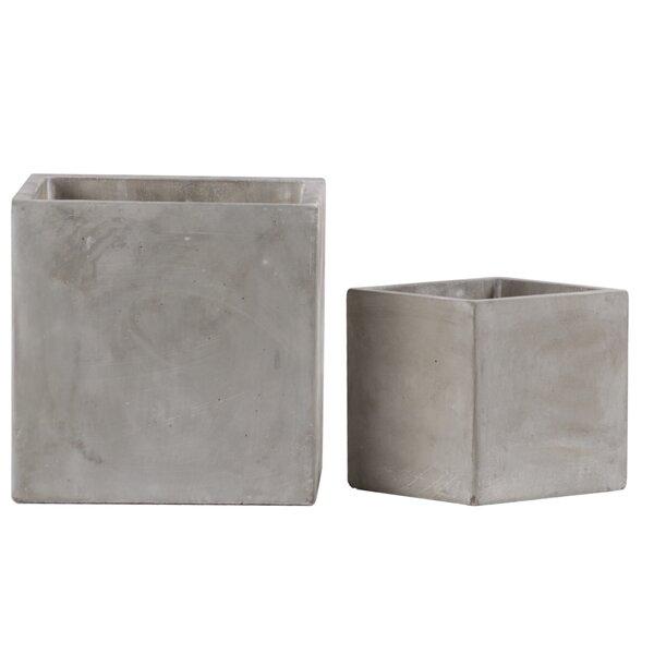 Wheelock Square 2-Piece Cement Pot Planter Set by Gracie Oaks