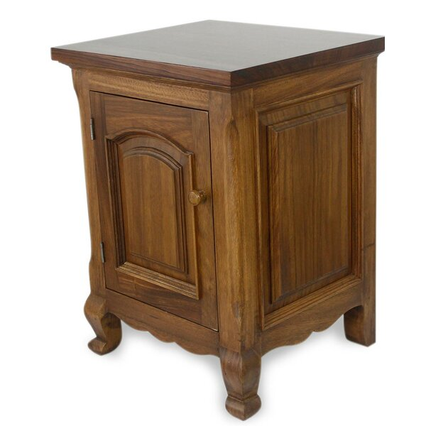Ladoga Country Estate Parota Wood 1 Drawer Nightstand by Bloomsbury Market