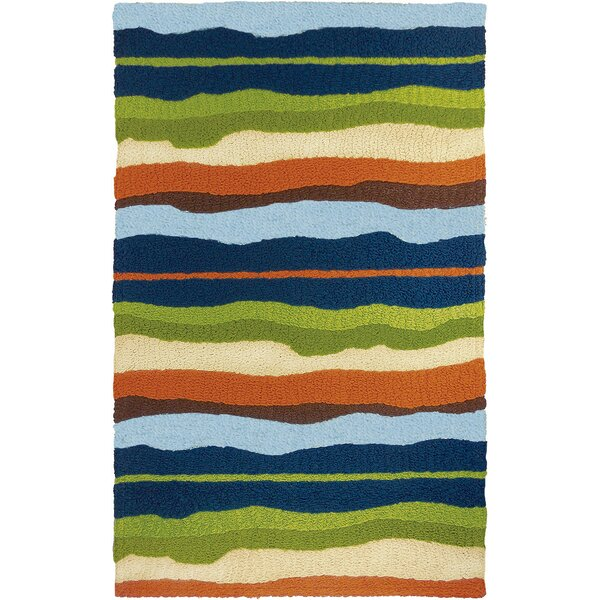 Caine Capri Stripe Hand-Hooked Green/Blue Indoor/Outdoor Area Rug by Highland Dunes