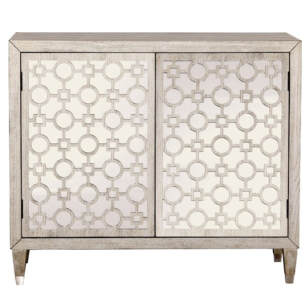 Ridgway Geometric Overlay 2 Door Accent Cabinet by House of Hampton House of Hampton