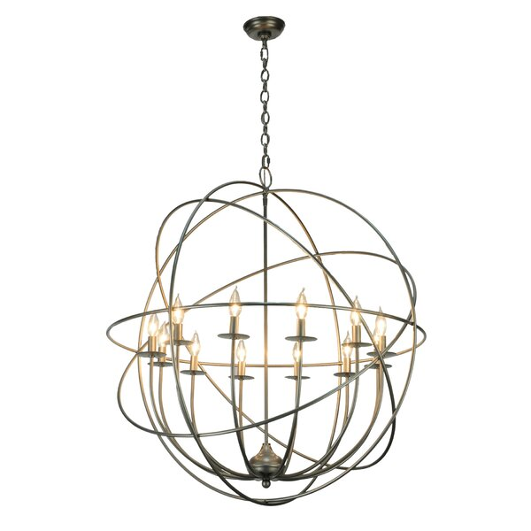 Uniondale 12 - Light Candle Style Geometric Chandelier by Bloomsbury Market Bloomsbury Market