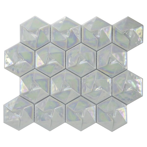 Metallica Geometric Glass Mosaic Tile in Xenon by Byzantin Mosaic
