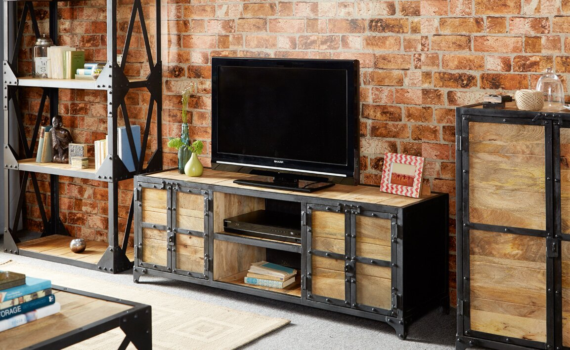 loftdesigns tv lowboard cascade industrial bewertungen. Black Bedroom Furniture Sets. Home Design Ideas