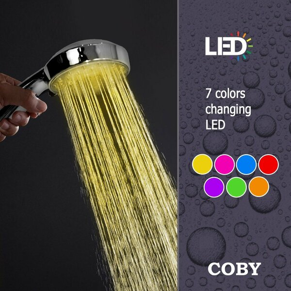 LED Color Changing Full Handheld Shower Head by COBY