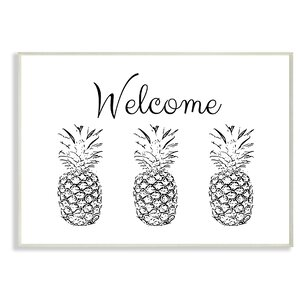 'Welcome Pineapple Line' Drawing Print by Wrought Studio