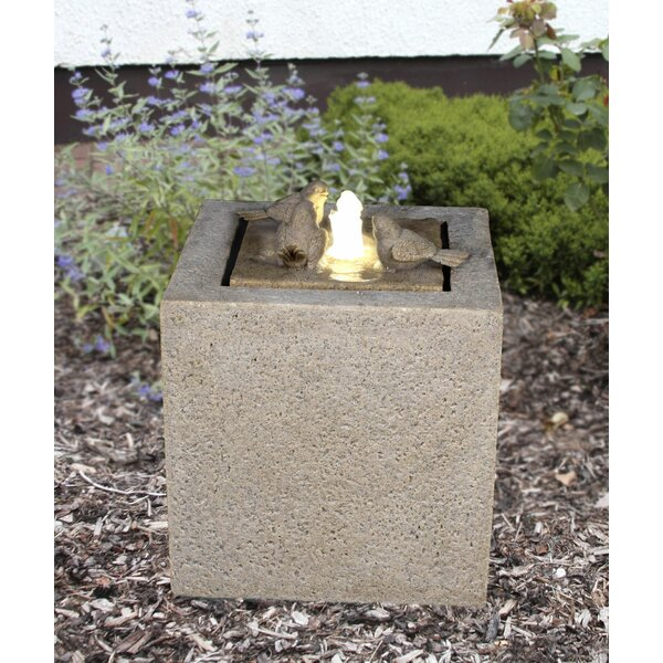 Resin Outdoor Garden Fountain Sandstone Cube with LED Light by Zenvida