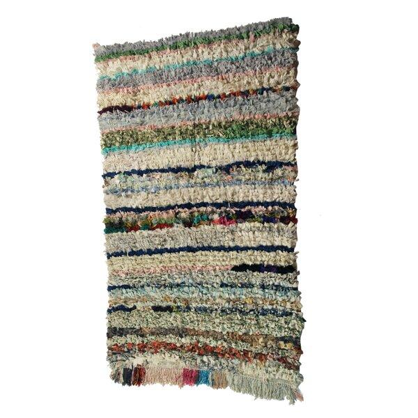 Boucherouite Azilal Hand-Woven Green/Ivory Area Rug by Casablanca Market