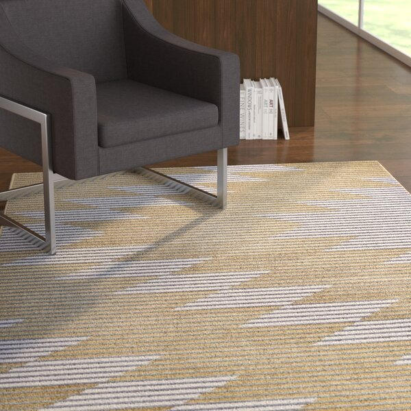 Ewers Gray/Gold Area Rug by Ebern Designs