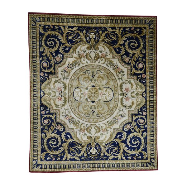One-of-a-Kind Harkey Nepali with Aubusson Thick and Plush Oriental Hand-Knotted Ivory Area Rug by World Menagerie
