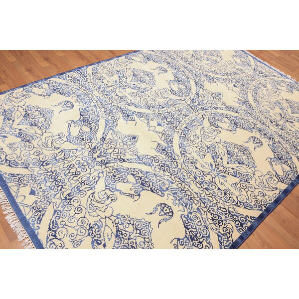 One-of-a-Kind Hedley Hand-Knotted Wool Blue/Beige Area Rug by Canora Grey