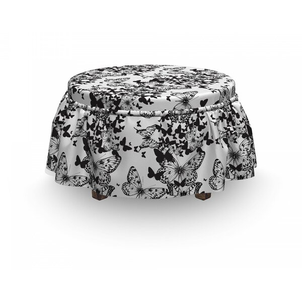 Butterfly Motif 2 Piece Box Cushion Ottoman Slipcover Set By East Urban Home