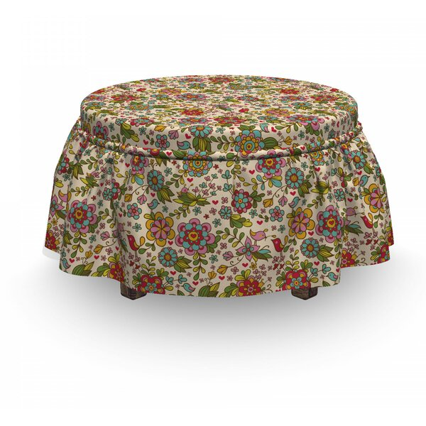 Flora Fauna Ottoman Slipcover (Set Of 2) By East Urban Home