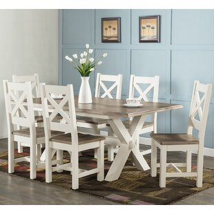 Cross leg dining table wayfair westport cross leg dining set with 6 chairs watchthetrailerfo
