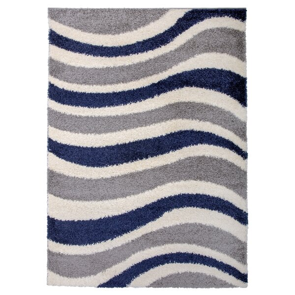 Samantha Cozy Shag Contemporary Waves Gray Area Rug by Ebern Designs