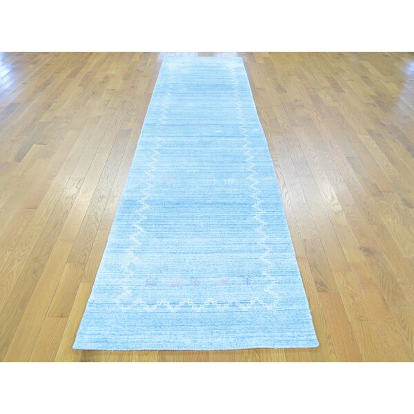 One-of-a-Kind Becker Folk Art Handwoven Blue Wool Area Rug by Isabelline