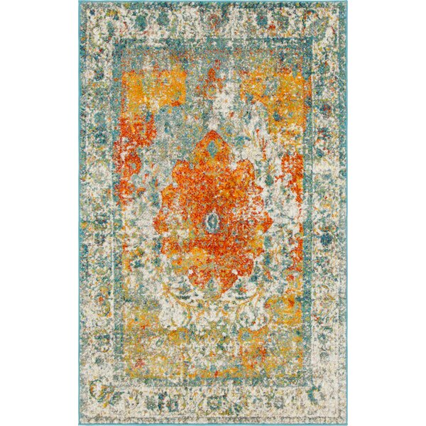 Hartell Orange Area Rug by Bungalow Rose