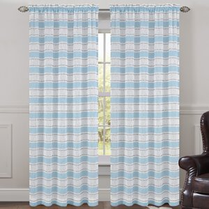 Deneuve Striped Sheer Rod Pocket Curtain Panels (Set of 2)