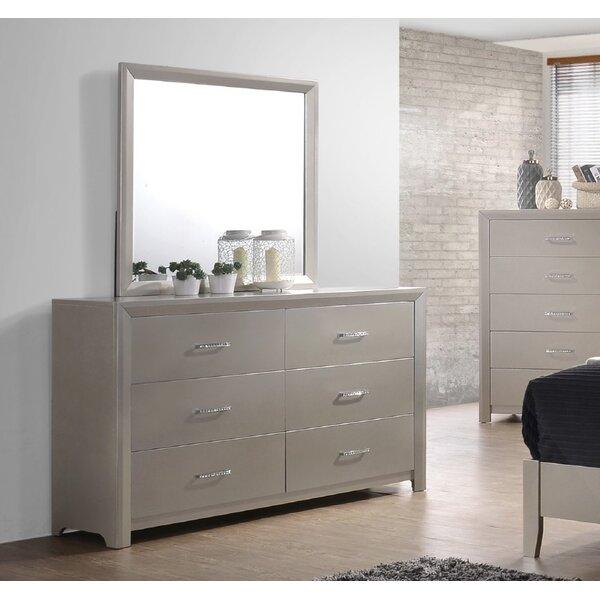 Denton 6 Drawer Double Dresser with Mirror by Mercer41